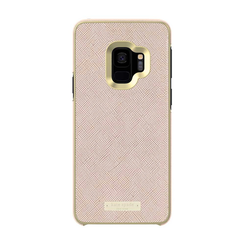 Kate Spade New York Samsung Galaxy S9 - Saffiano Rose Gold/Gold Logo Plate
