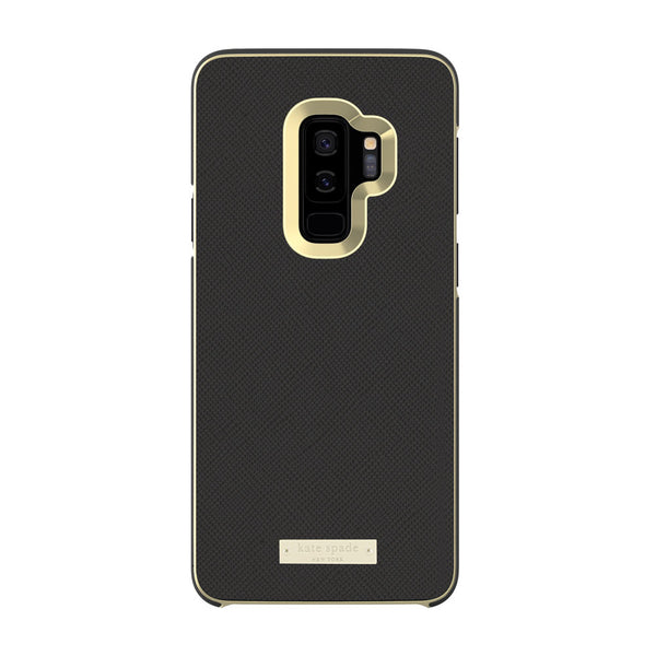 Kate Spade New York Samsung Galaxy S9 Plus - Saffiano Black/Gold Logo Plate