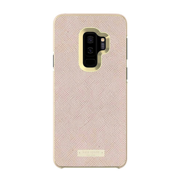 Kate Spade New York Samsung Galaxy S9 Plus - Saffiano Rose Gold/Gold Logo Plate
