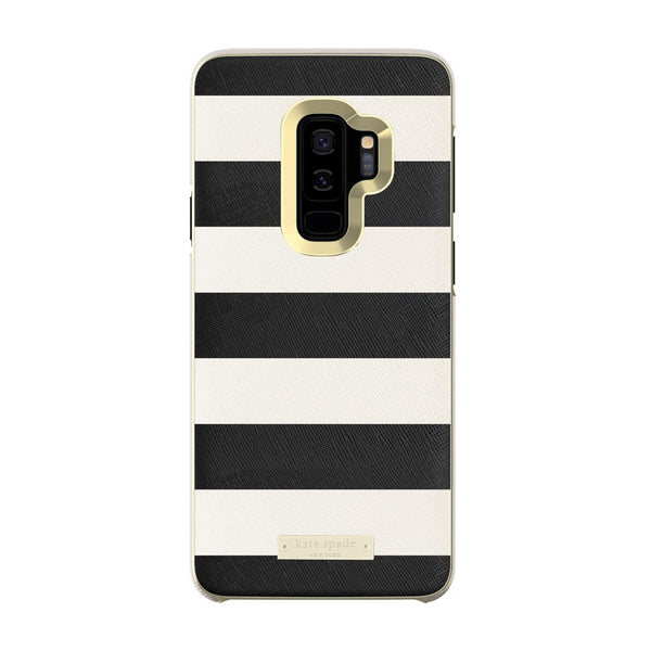 Kate Spade New York Samsung Galaxy S9 Plus - Saffiano Black and White Stripe/Gold Logo Plate