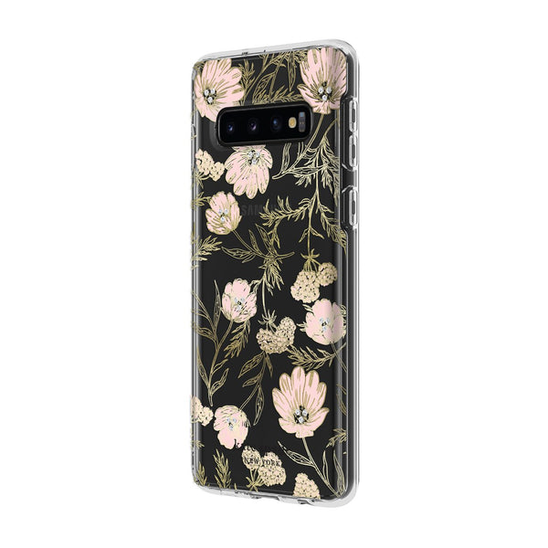 Kate Spade New York Protective Hardshell Samsung Galaxy S10 - Blossom Pink/Gold with Gems