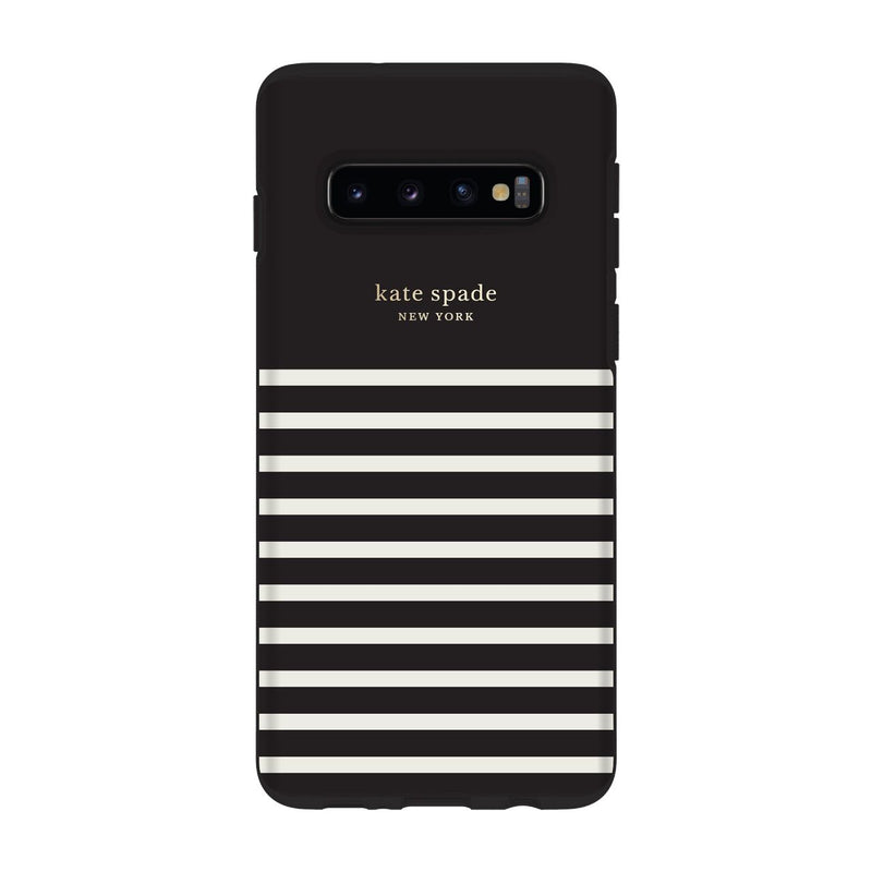 Kate Spade New York Protective Hardshell Samsung Galaxy S10 - Stripe Black/Cream Gold