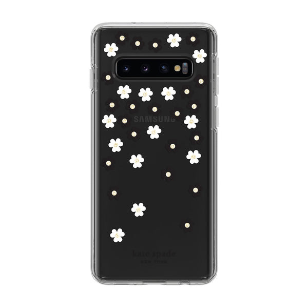 Kate Spade New York Protective Hardshell Samsung Galaxy S10 - Black/White/Gems/Clear