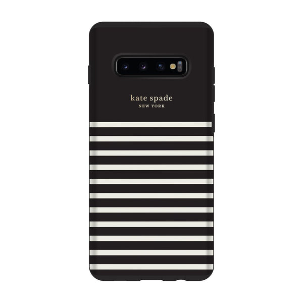 Kate Spade New York Protective Hardshell Samsung Galaxy S10+ - Stripe Black/Cream Gold