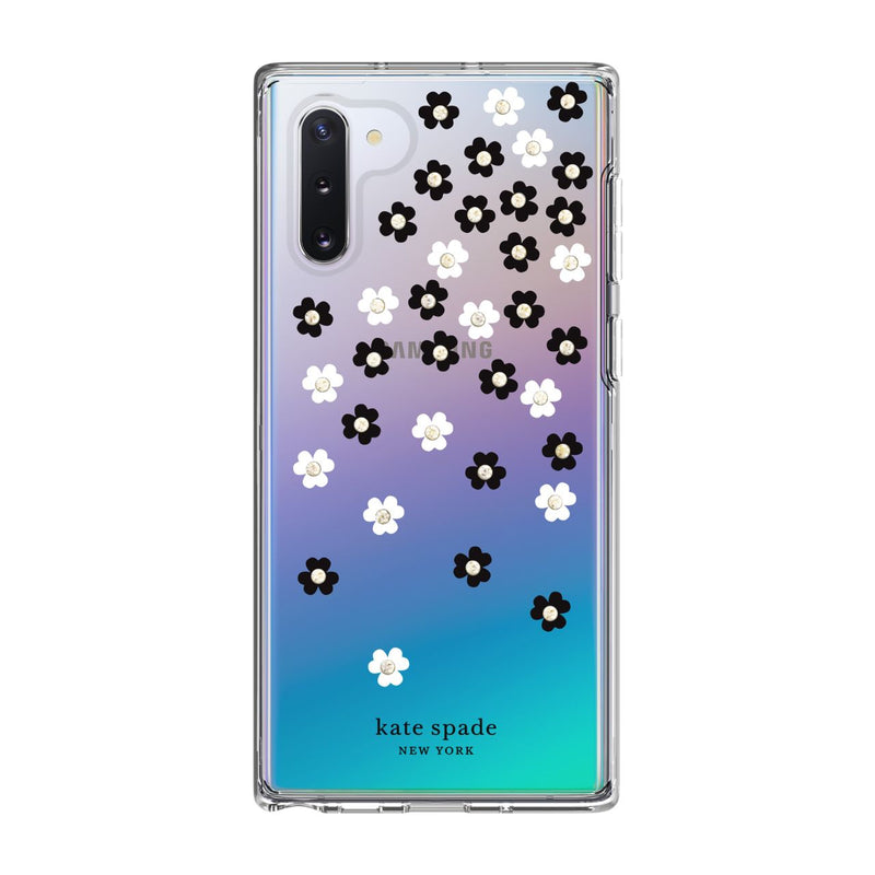 Kate Spade New York Protective Hardshell Case for Samsung Note 10 Scattered Flowers Black/White/Gold Gems/Clear