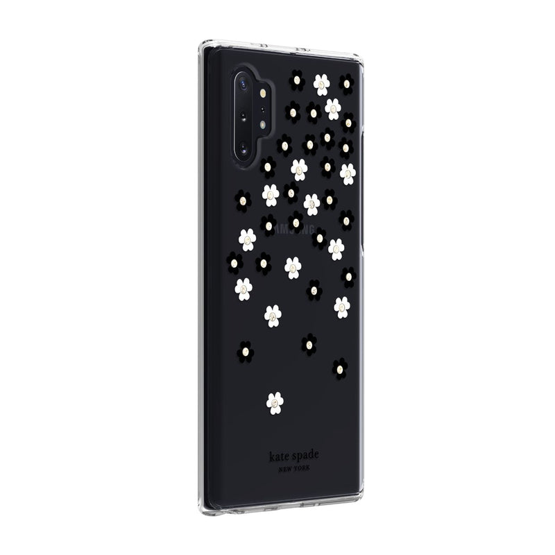 Kate Spade New York Protective Hardshell Case for Samsung Note 10 Plus Scattered Flowers Black/White/Gold Gems/Clear