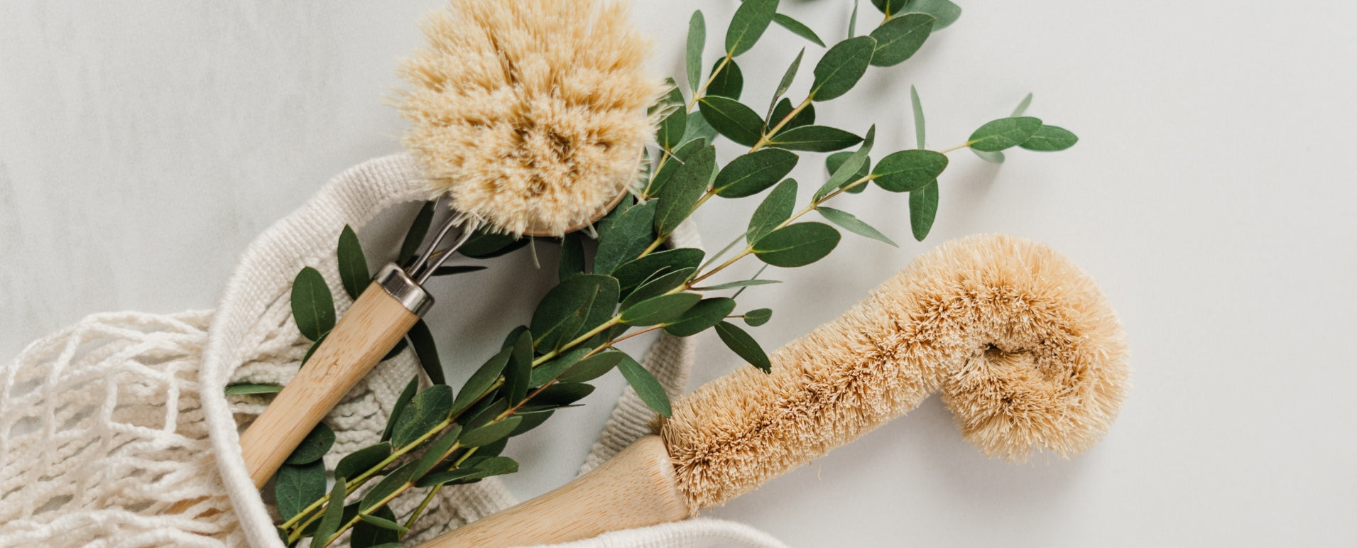 Reusable bag with natural fiber scrubbers and eucalyptus pouring out
