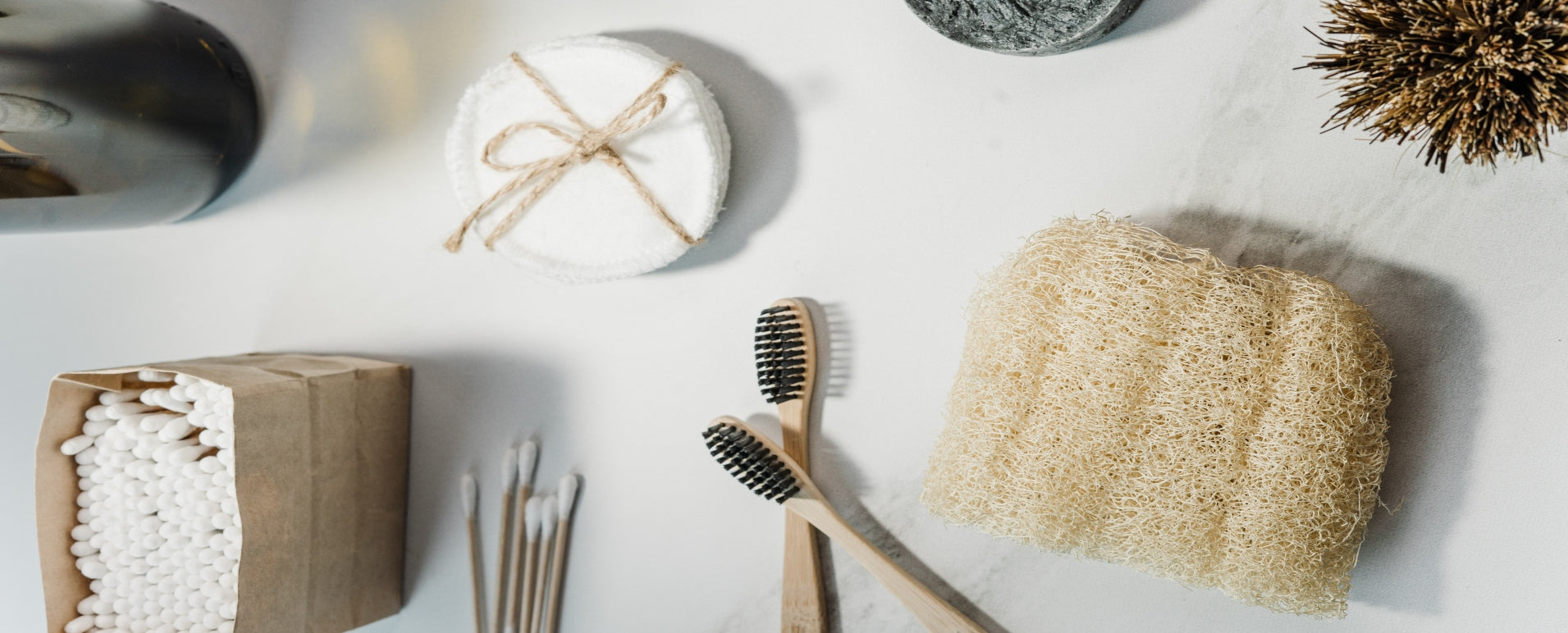 Low Waste Bathroom Items: Toothbrushes, Cotton Rounds, Loofah Sponge