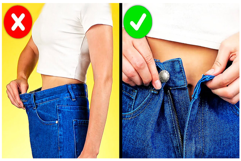 Tight loose jeans hack for girls