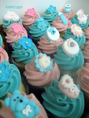 24 mini unisex baby shower cupcakes