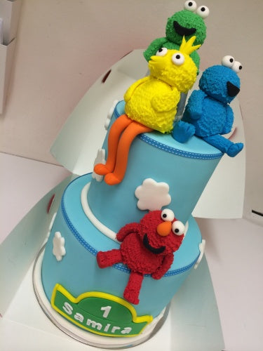 2 tier SEASAME STREET cake