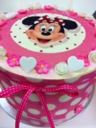 "MINNIE MOUSE hot PINK POLKA 9"" cake"