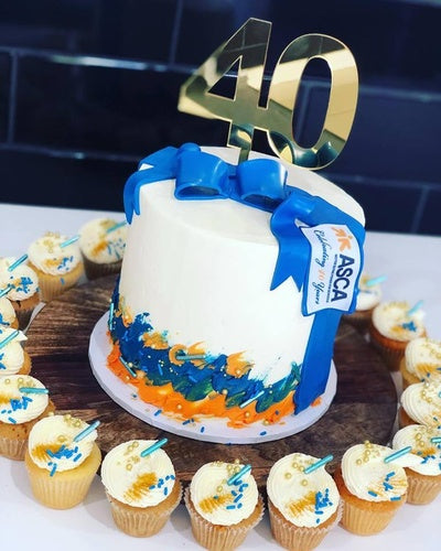 "6""CORPORATE CAKES + cupcakes  + cake topper number"
