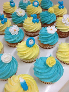 24  x mini yellow blue baby cupcakes