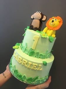 2 tier MONKEY AND LION  cake