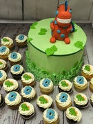 "6"" DINOSAUR 3D PACKAGE cake + cupcakes"