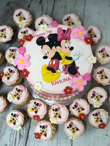 "6"" MINNIE & MICKEY PACKAGE cake + cupcakes"