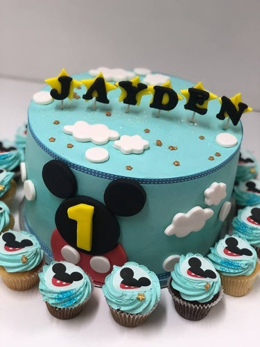 "MICKEY MOUSE 2D EARS package 9"" cake + cupcakes"