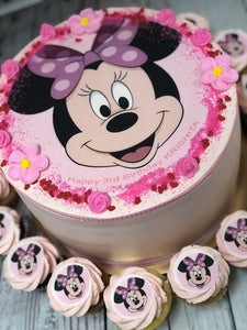"MINNIE MOUSE package 9"" cake + cupcakes"