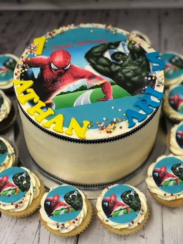 "6"" SUPERHERO HULK SPIDERMAN PACKAGE cake + cupcakes"