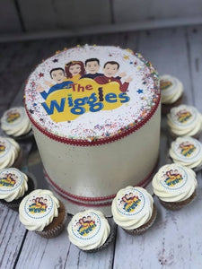 "6"" WIGGLES PACKAGE cake + cupcakes"