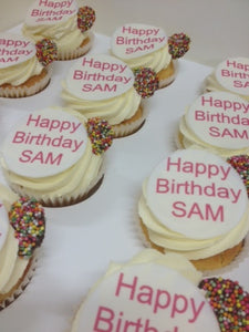 CUSTOMIZE happy birthday pink 12 cupcakes