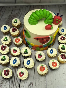 "6"" HUNGRY CATAPILLAR PACKAGE cake + cupcakes"