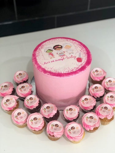 "6"" PAMPER PARTY cake + cupcakes"