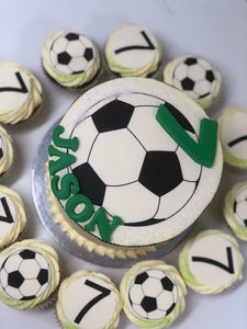 "6"" SOCCER GREEN cake + cupcakes"
