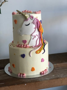 2 Tier HONEY SUN UNICORN cake