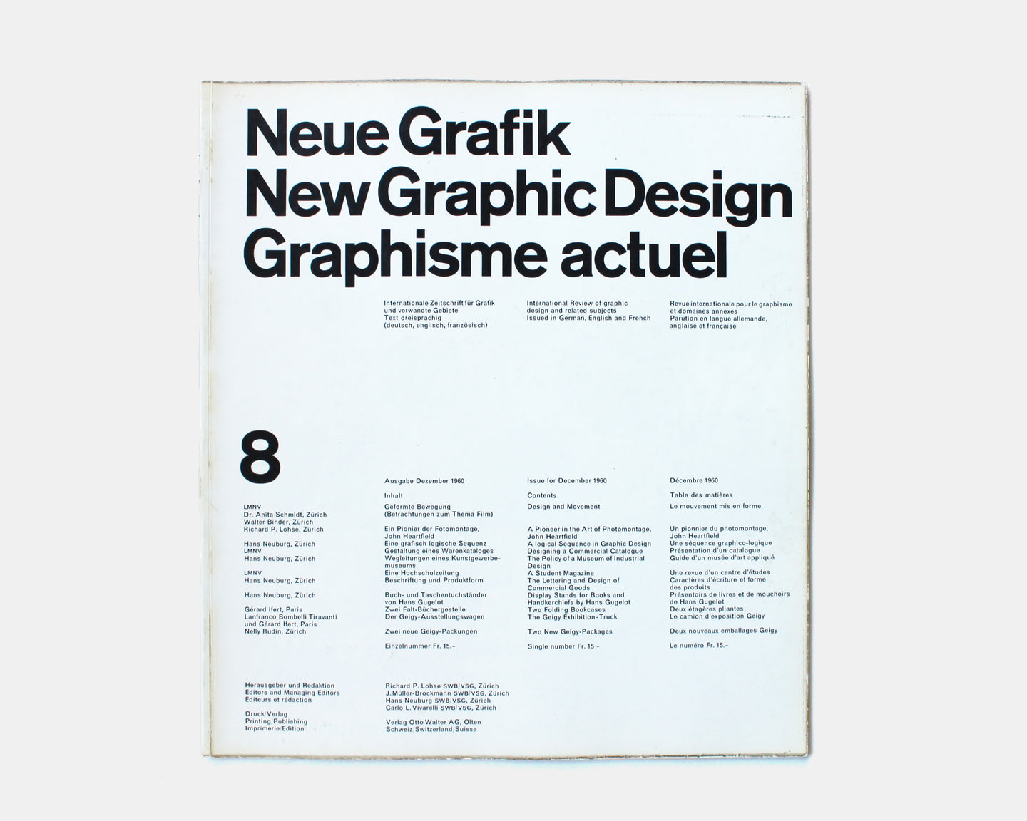 Neue Grafik / New Graphic Design / Graphisme actuel — Issue No. 8, 1960