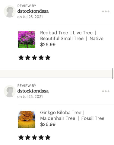 Ginkgo and redbud ratings
