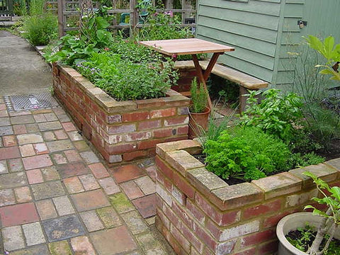 Brick raised bed garden