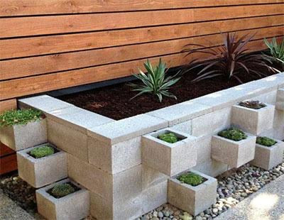 Cinder block brick raised bed garden