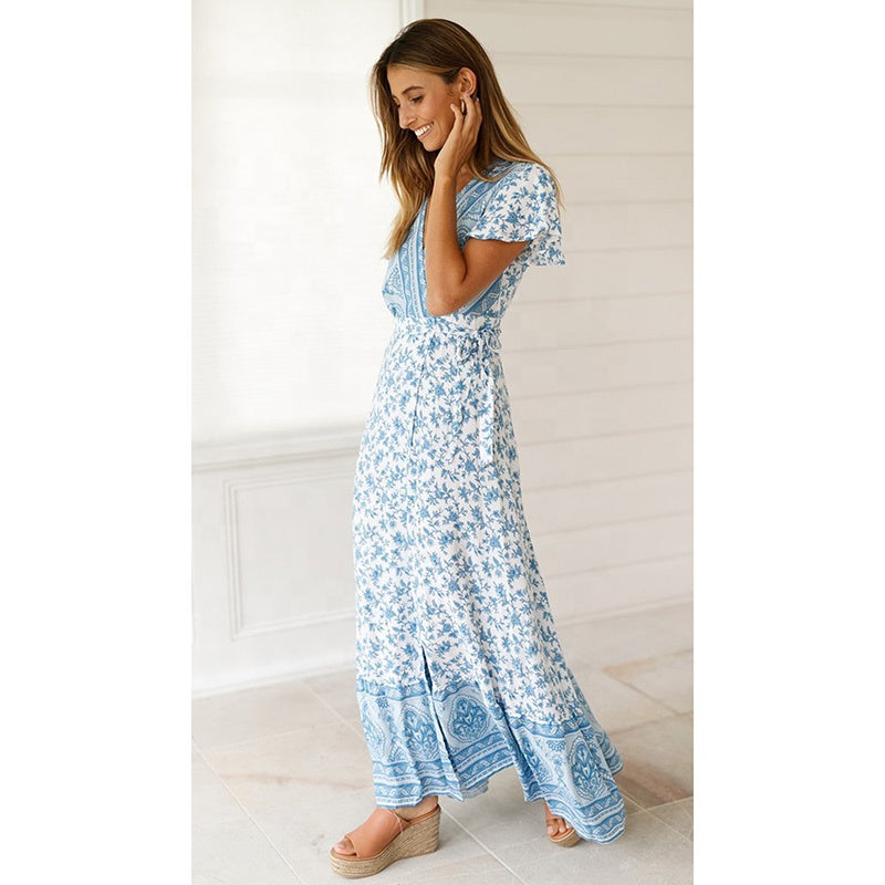 Short Sleeve V-neck Floral Maxi Dress