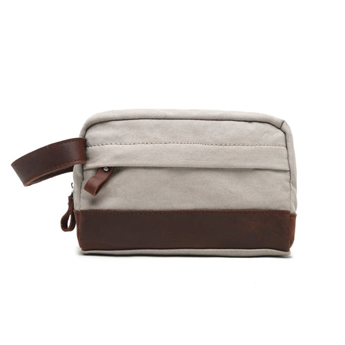 Washed Canvas Leather Gym Toiletry Bag