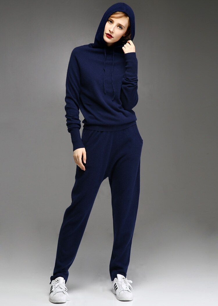 Two Piece Cashmere Hoodie Sweater Set
