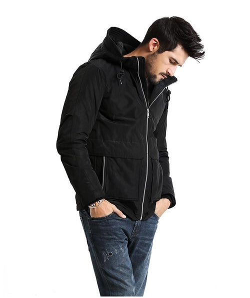Light Casual Black Parka