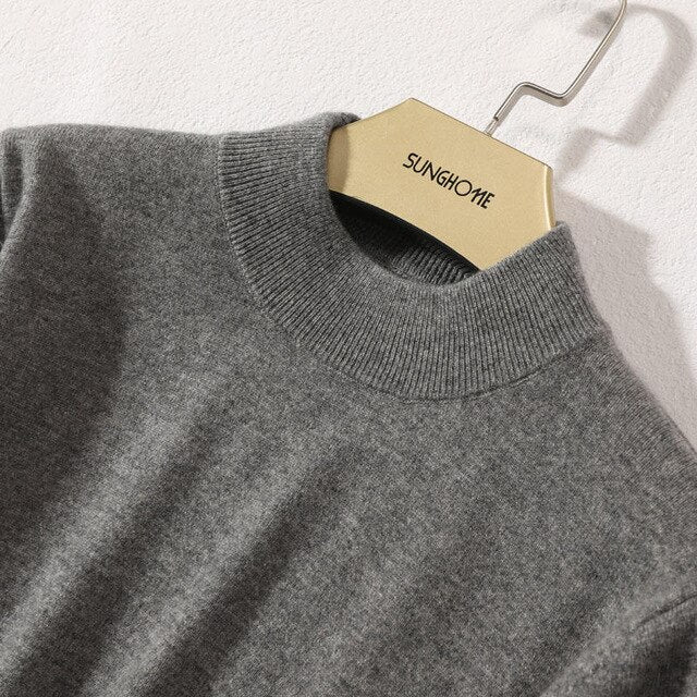 Half-High Neck Sweater 100% Cashmere Knitted