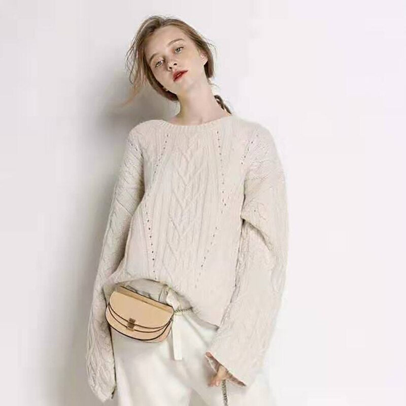 Cashmere & Wool O-Neck Loose Pullover