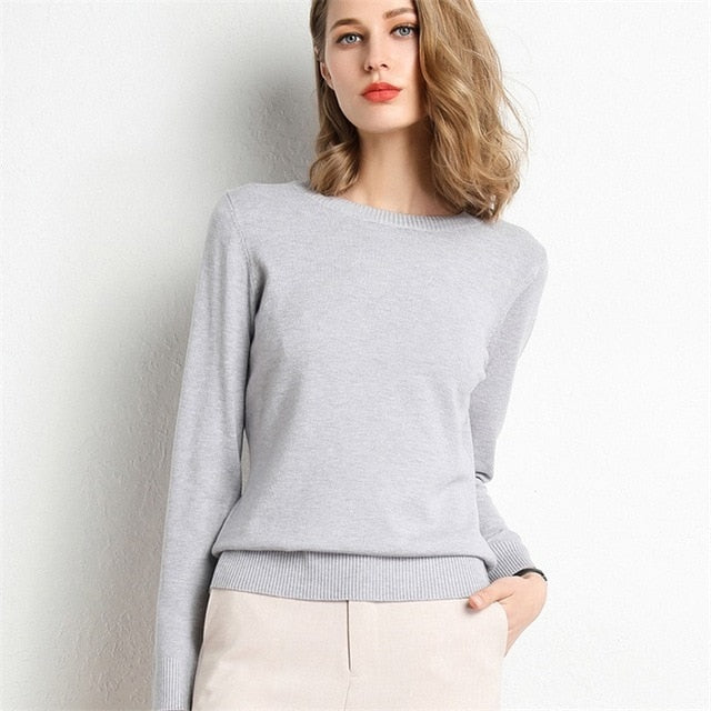 Solid Round Neck/Wool Cashmere Sweater