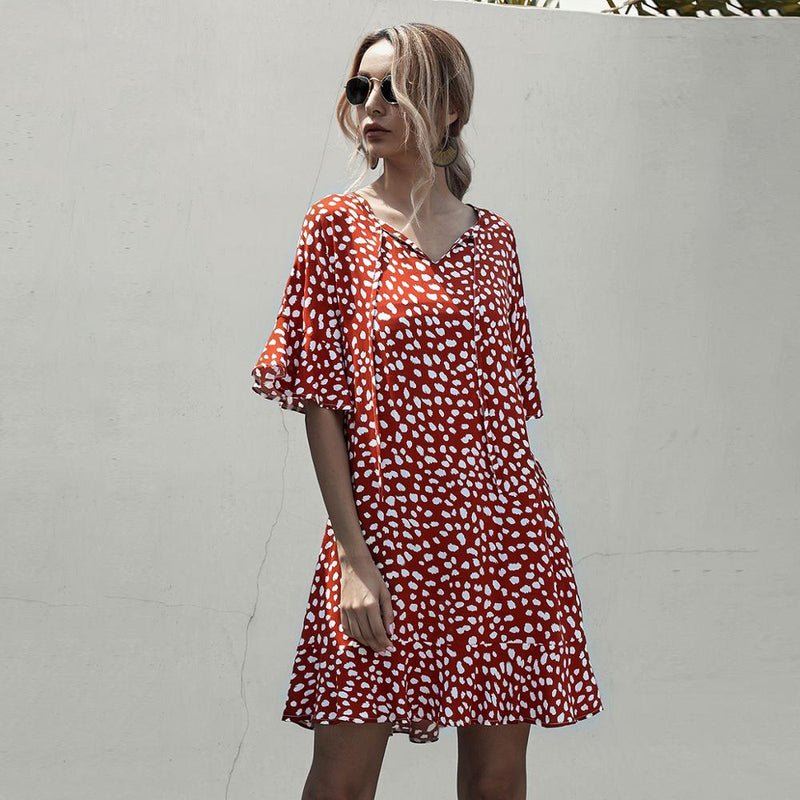 Loose Print Half Sleeve Dress