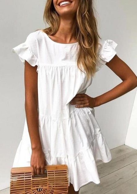 Short Sleeved Ruffled Dress