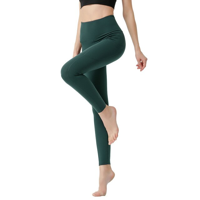 Yoga Leggings Side Pocket Waist Cross Back