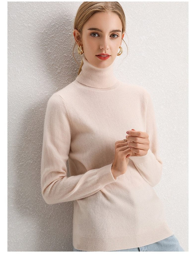 100% Pure Cashmere Knitted Turtleneck Pullover
