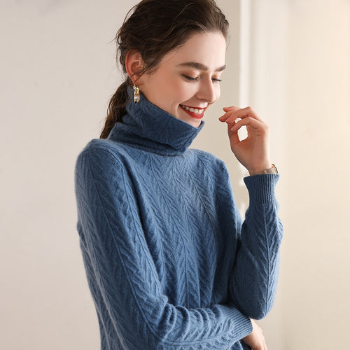 Turtleneck Warm 100% Cashmere Pullover