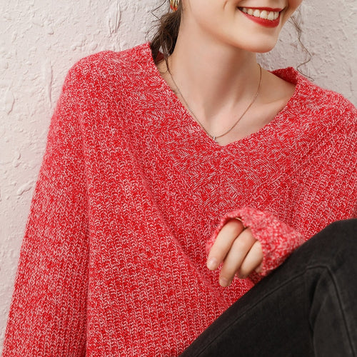 V-neck Long Sleeves 100% Cashmere Jumper