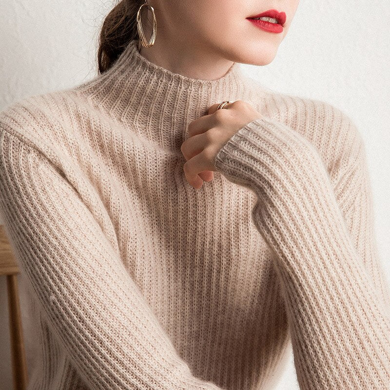 Goat Cashmere Knitted Half-High O-neck Pullover