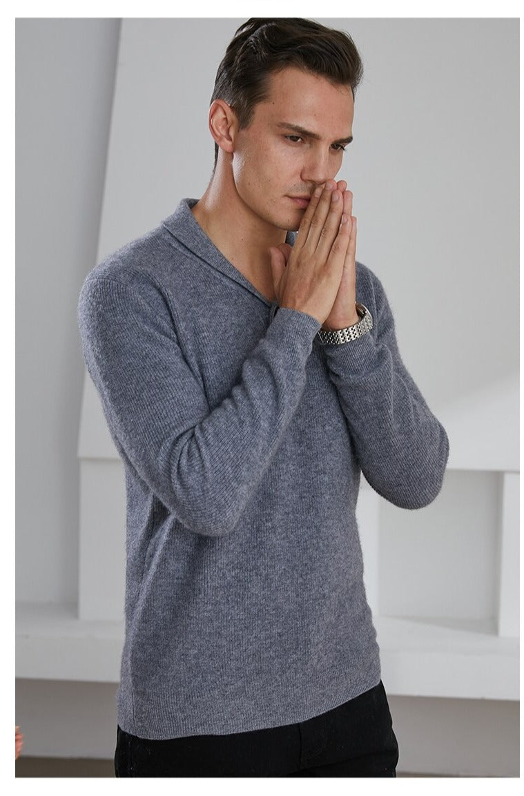 V-Neck 100% Goat Cashmere Knitted Sweater