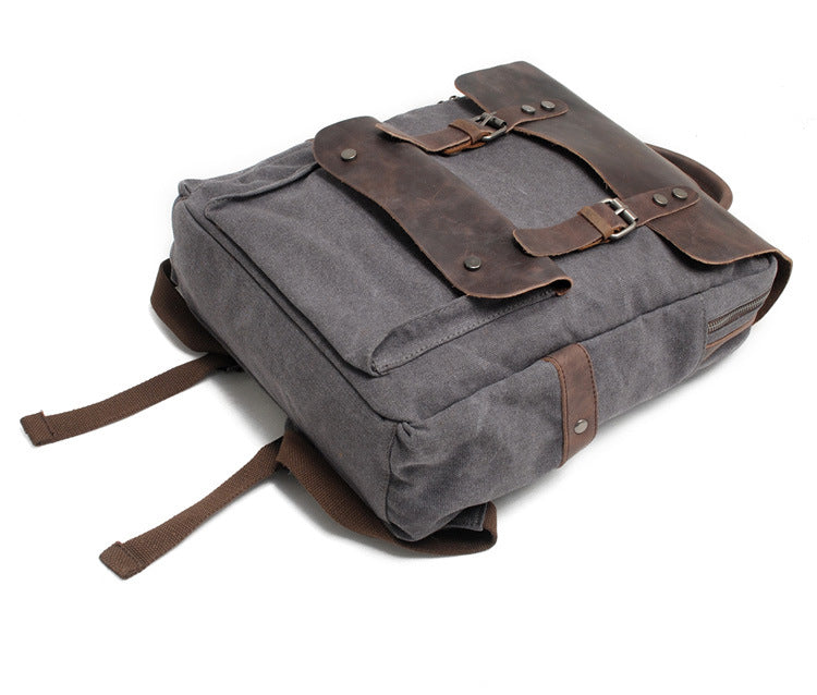 Laptop Canvas Leather Backpack